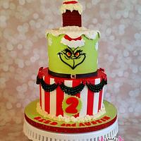 You're a Mean One, Mr. Grinch!  Belated Christmas birthday cake.