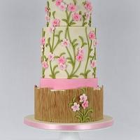 Pink Climbing Flowers Cake