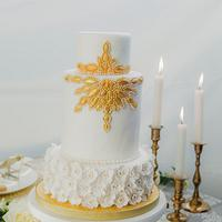 Enchanted white wedding cake