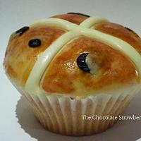 Happy Easter - Hand-painted Hot Cross Bun Cupcake