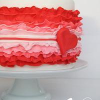 Valentine's Ruffle Cake