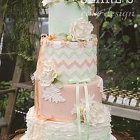Peach and Mint Vintage Wedding Cake