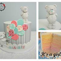 Blue Nose Bear Gender Reveal Cake