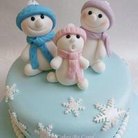 Snow men children Christmas cake
