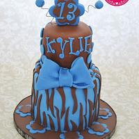 Blue and brown zebra cake