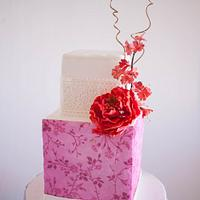 Pink Cherry Blossoms Cake