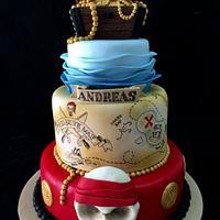 Treasure chest, pirate theme birthday cake