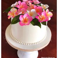 ~ Tropical Plumeria Wreath Cake ~