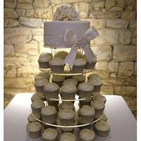 Ivory rose swirl cupcake tower