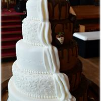 5 Tier half and half wedding cake