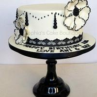 Cream and black simplicity.  by Sophia's Cake Boutique