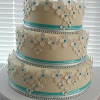 Teal Hydrangea Wedding Cake