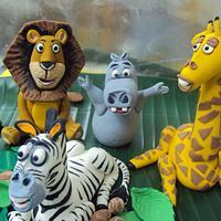 Madagascar Theme 1st Birthday cake by Letchumi Sekaran