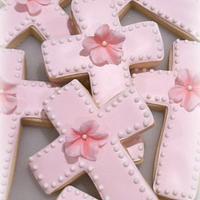 Pink Petunia Cross Cookies!