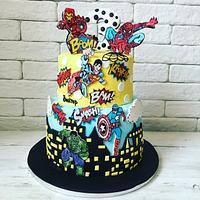 Boy superheroes hand painted cake