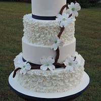 Dogwood Blossoms & Ruffled Wedding Cake