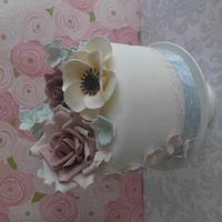 Roses, anamone and pastel hydrangeas