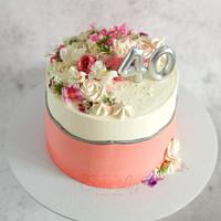 Natural and Edible Flowers Fault Line Cake