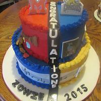 Dual theme graduation cake +