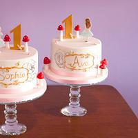 Alice themed twin birthday cakes