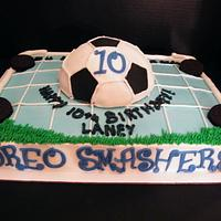 Soccer themed birthday cake by Judy Remaly