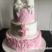 Ruffle christening cake