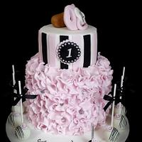Pretty ruffle baby dummy cake