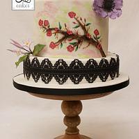 Blossom painted cake