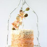 Peach and Bloom Ruffle Cake