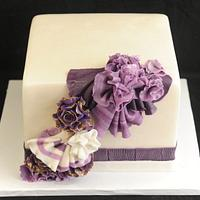 Purple Ruffles and Straight  Sparp Edges  Fondant Finish Butter Cream Under Coat