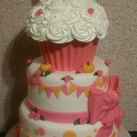 Pink & Pumpkins 1st Birthday Cake