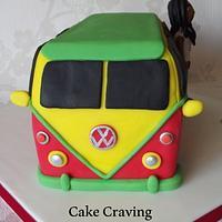 Reggae camper van cake and Bob Marley Icing figure