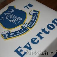 Hand Cut Everton Football Badge cake