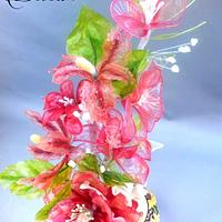A composition of gelatin flowers