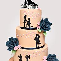 Silhouette Wedding cake in peach and navy blue