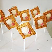 Elegant picture frame cake pops
