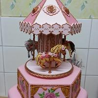 Carousel Christening Cake by Di's Delights