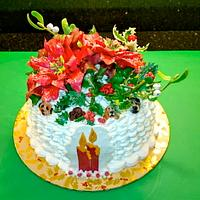 Christmas cake, flowers and Dogs!