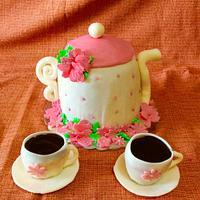 Teapot and tea cups cake