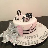 black white handbags cake by Donnajanecakes