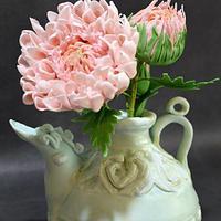carved ewer with sugar chrysanthemums
