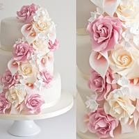 Dusky Pink Cascade Wedding Cake