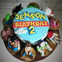 Toy Story cake with character cupcakes