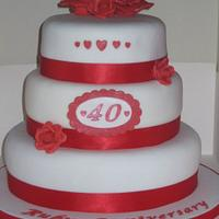 White and Red Ruby Wedding Cake