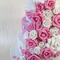 Pink & White floral cascade by Sugar Sweet Cakes