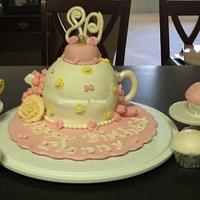 Teapot Cake with Teacups_Mrs. James 80th Birthday
