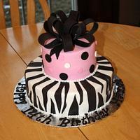 Happy 14th Birthday Zebra Cake by Michelle