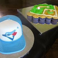Blue Jays Baseball Cake and Cupcakes