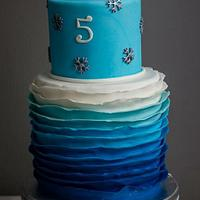 Frozen ombre cake with elsas silver crown