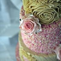 4 tier Ivory Rosa Cake with Ruffles by Valentina's Sugarland